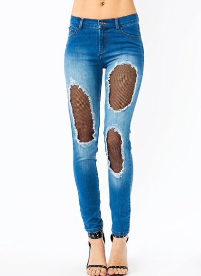 Hole Wide World Netted Jeans