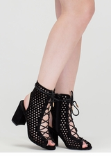 Holey One Perforated Faux Suede Booties