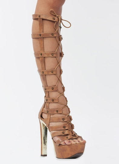 Hot Stud Faux Leather Gladiator Heels