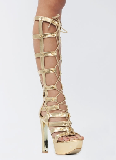 Hot Stud Metallic Gladiator Heels