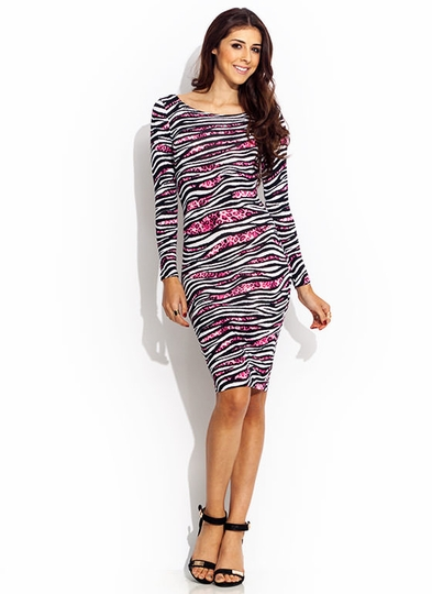 Hybrid Animal Striped Midi Dress