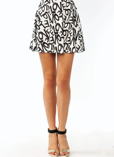 In Love Printed Skater Skirt