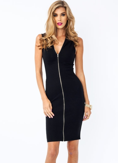 In The Hood Zippered Dress