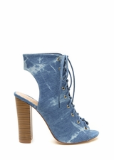 In The Wash Lace-Up Denim Heels