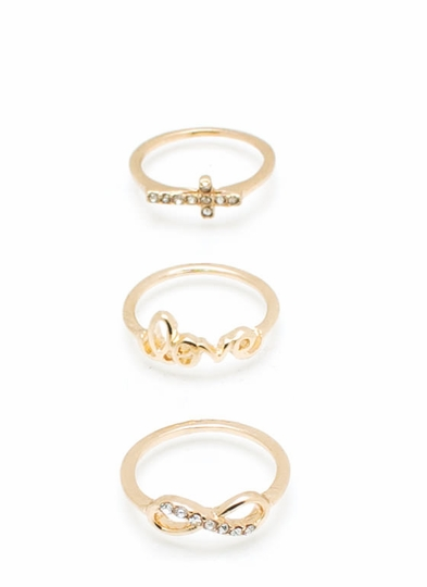 Infinity Love Cross Ring Set