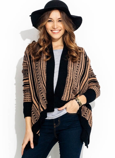 Jagged Hem Pocketed Cardigan