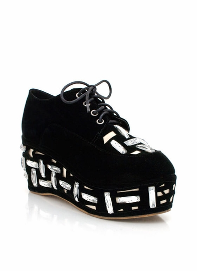Jewel Embellished Lace-Up Platforms