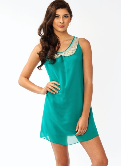 Jeweled Collar Chiffon Dress