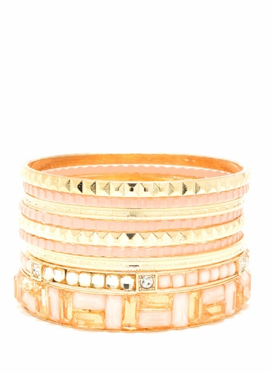 Jeweled Mosaic Bangle Set