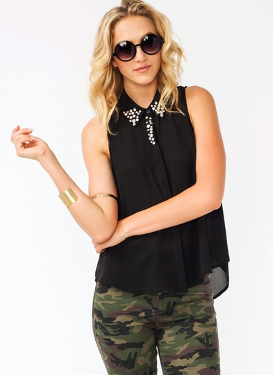 Jeweled Sleeveless Georgette Blouse