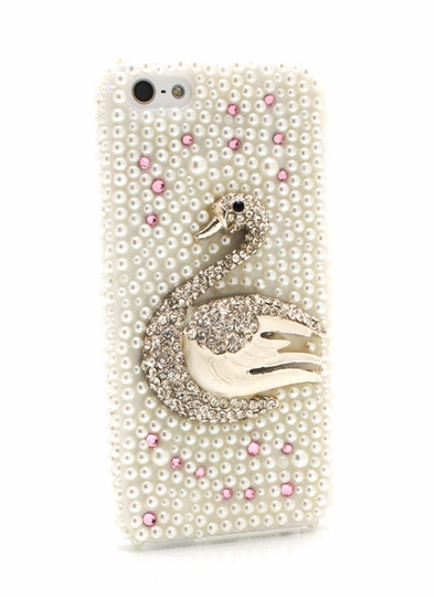 Jeweled Swan Pearl Phone Case