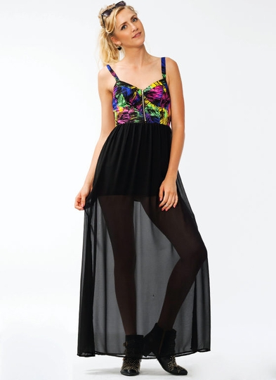 Jungle Bustier Maxi Dress