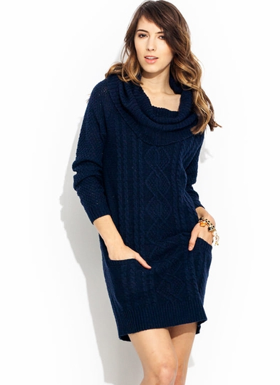 Knit Cowl Neck Sweater Dress