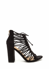 Knot Again Chunky Caged Lace-Up Heels