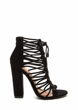 Knotty Girl Chunky Caged Lace-Up Heels