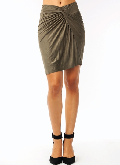 Knotty Girl Faux Suede Skirt