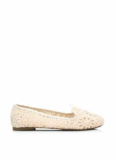 Lace Base Sheer Crochet Smoking Flats