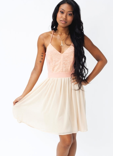 Lace Contrast Crisscross Dress