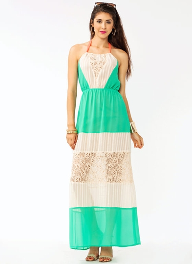 Lace Halter Contrast Maxi Dress