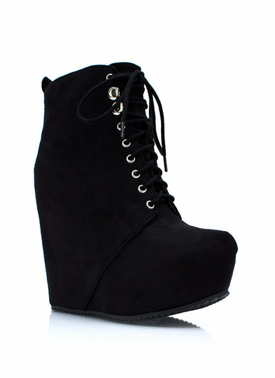 Lace It Up Wedge Booties