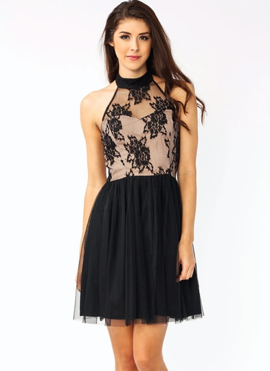 Lace Tulle Halter Dress