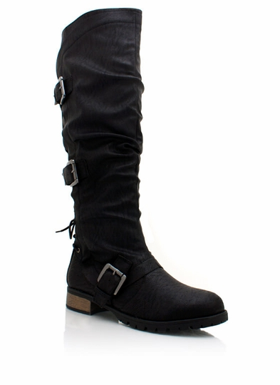 Lace-Up Buckle Riding Boots