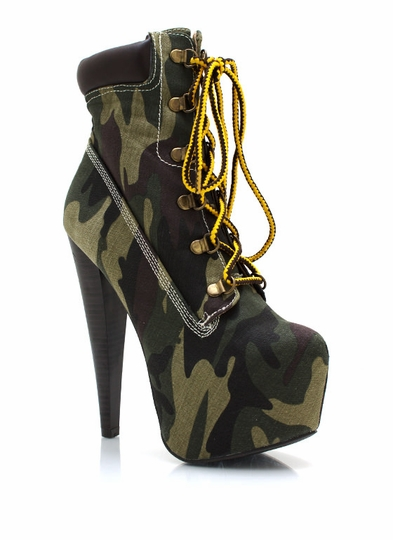 Lace-Up Camo Booties