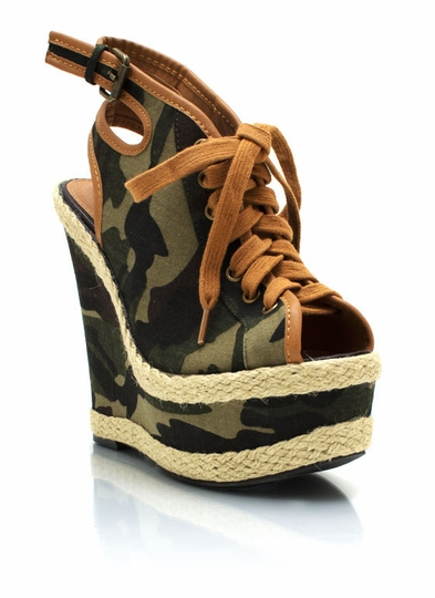 Lace-Up Camo Peep-Toe Wedges