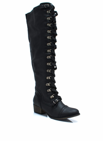 Lace-Up Corset Riding Boots