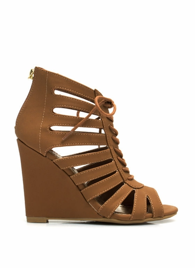 lace-up cut-out wedges