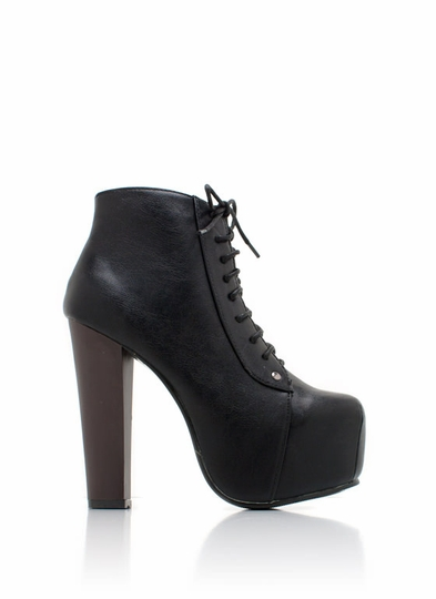 Lace-Up Faux Leather Platform