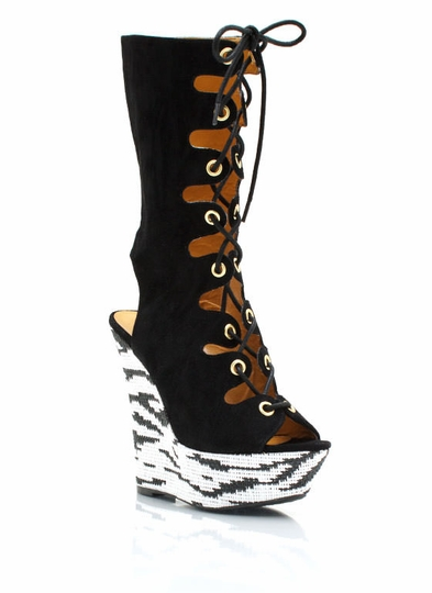 Lace-Up Printed Wedge Boots