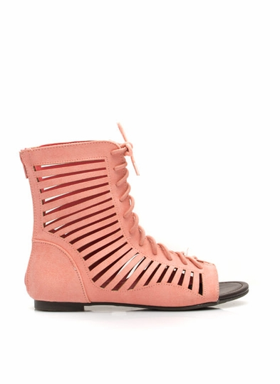 Lace-Up Slit Gladiator Sandals