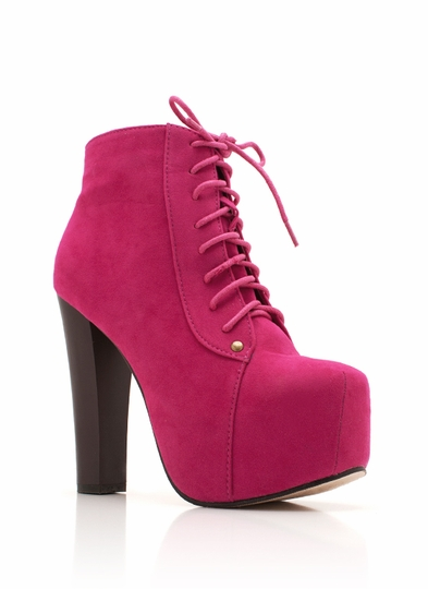 Lace-Up Suede Platform