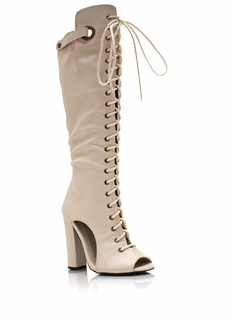 Laced Up Cut-Out Boots