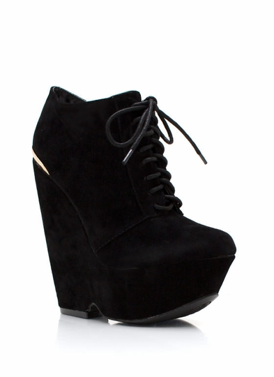 Laces More Platform Wedge Booties