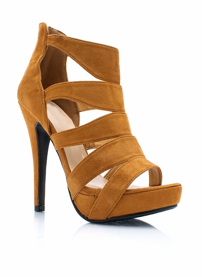 Ladder Up Faux Suede Heels