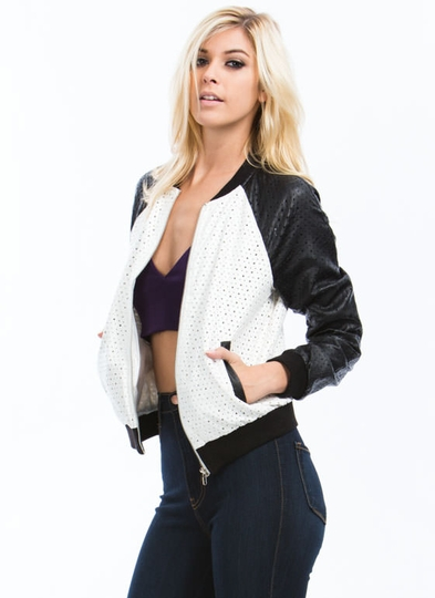 Laser Perforated Bomber Jacket