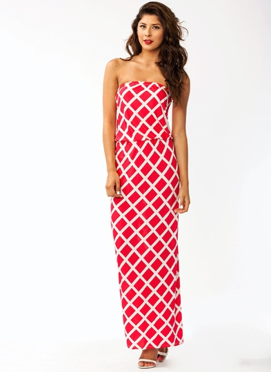 Lattice Print Maxi Dress