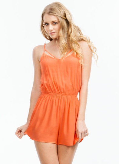 Latticed Back Romper