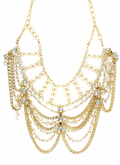 Layered Chain Pearl Bib Necklace
