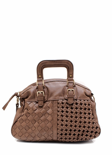 Leather Basket Weave Handbag