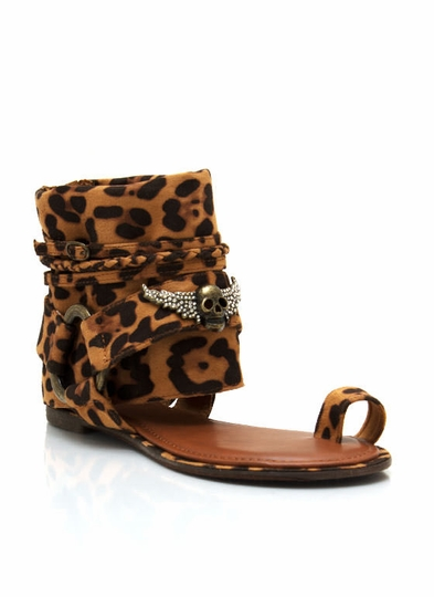 Leopard Ankle Wrap Sandals