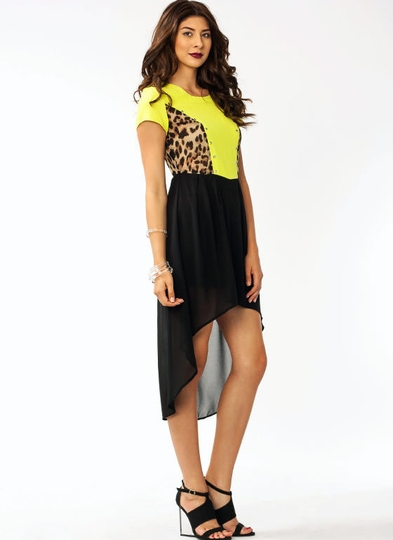Leopard Contrast High-Low Dress