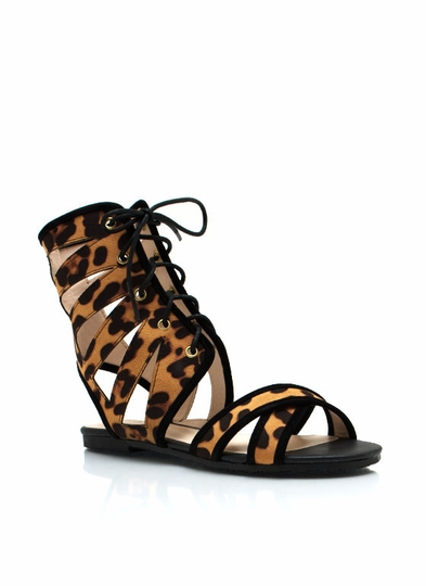 Leopard Cut-Out Lace-Up Sandals