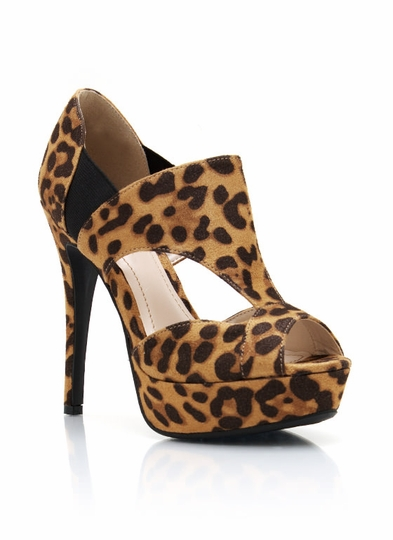 Leopard Cut-Out Platform Heels