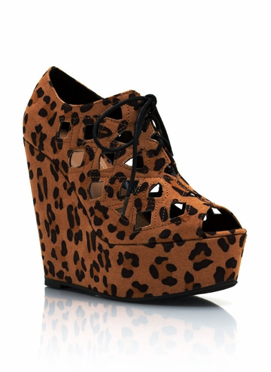 Leopard Cut-Out Wedges