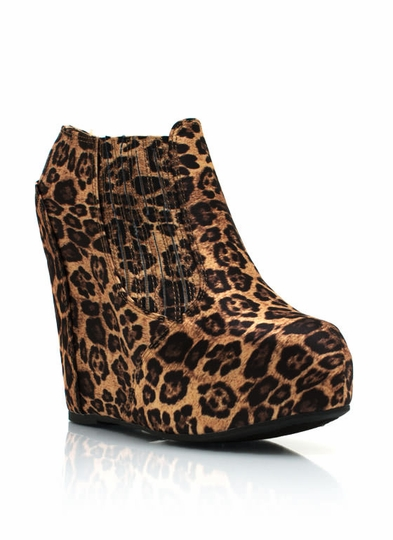 Leopard Hidden Wedge Booties