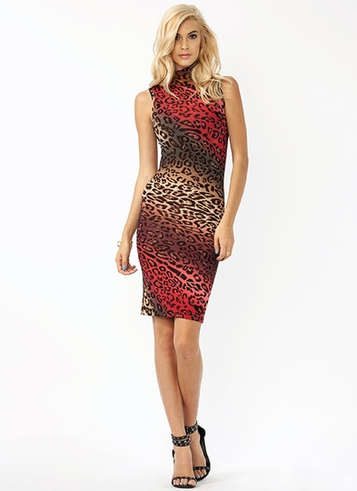 Leopard Meets Turtle Midi Dress