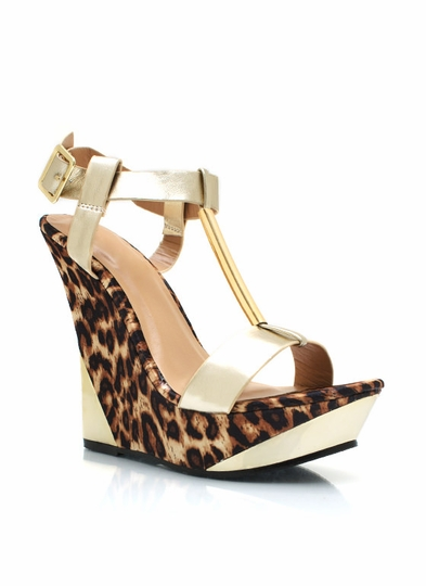 Leopard Metallic Wedges